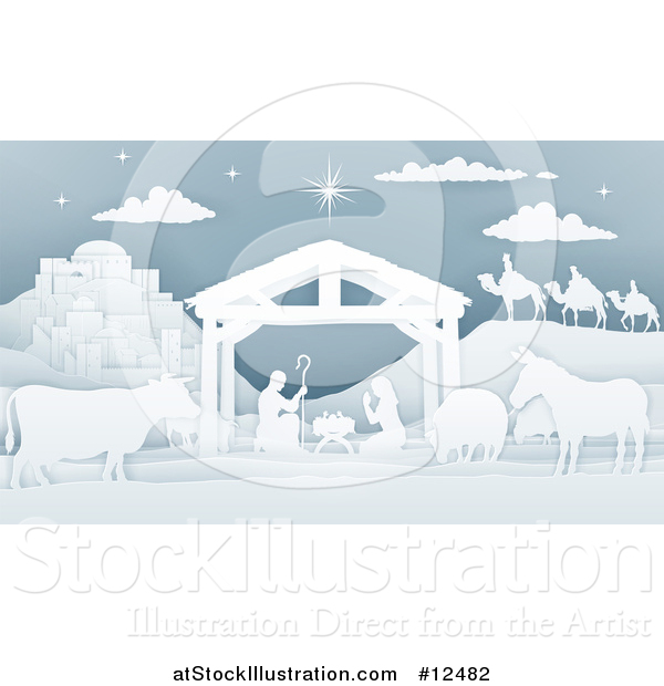 Vector Illustration of a Paper Art Styled Nativity Scene