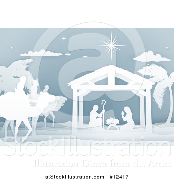 Vector Illustration of a Paper Art Styled Nativity Scene with the Wise Men and Manger