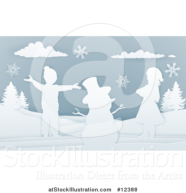 Vector Illustration of a Paper Art Styled Snowman and Children in the Snow