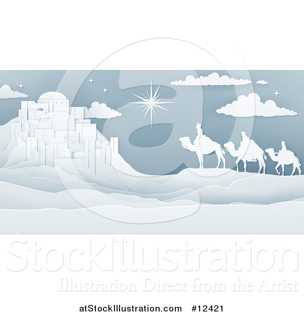 Vector Illustration of a Paper Art Styled Star of David over the Wise Men and Bethlehem