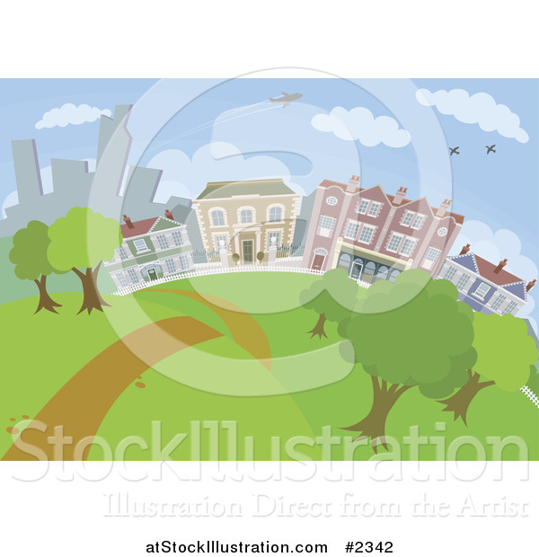 Vector Illustration of a Path Leading Through a City Park with Buildings in the Background