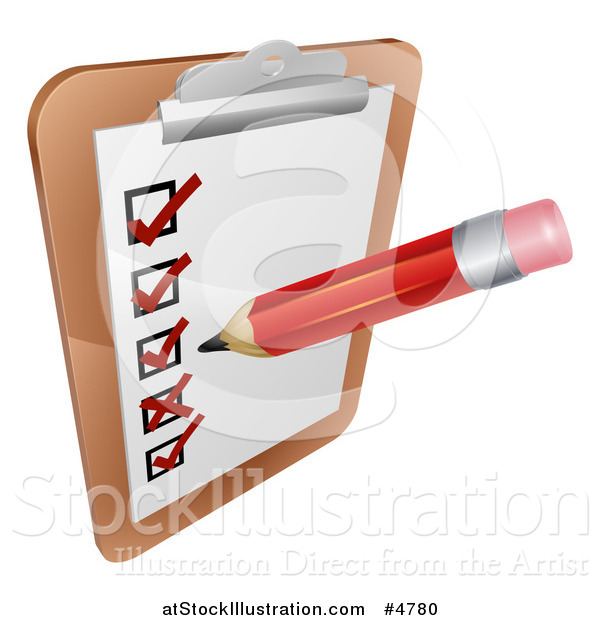 Vector Illustration of a Pencil Filling out a Survey on a Clipboard