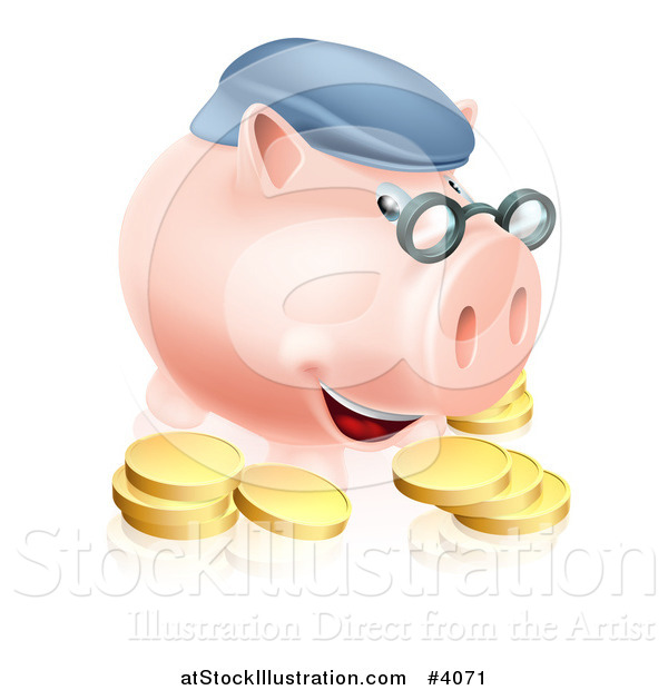 Vector Illustration of a Pension Piggy Bank with Glasses a Hat and Gold Coins