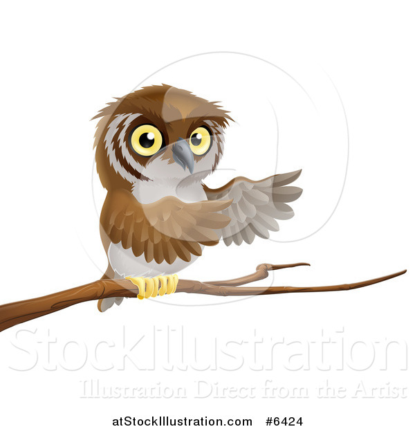 Vector Illustration of a Perched Owl Presenting with His Wings from a Tree Branch
