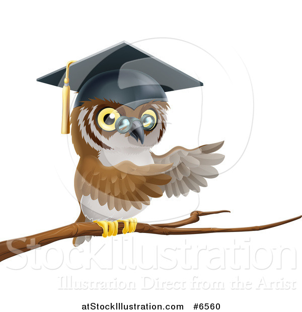 Vector Illustration of a Perched Professor Owl Presenting with His Wings from a Tree Branch