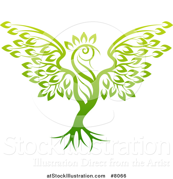 Vector Illustration of a Phoenix Bird Tree
