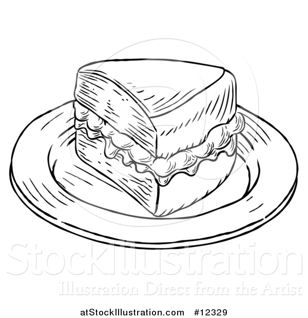 Vector Illustration of a Piece of Victoria Sponge Cake, Black and White Engraved Style
