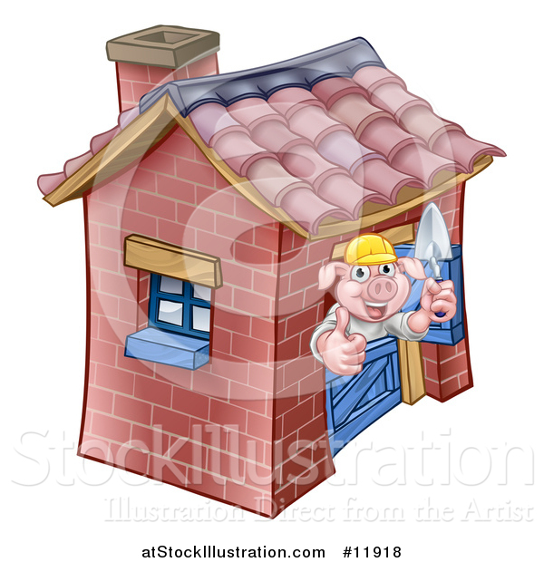 Vector Illustration of a Piggy from the Three Little Pigs Fairy Tale, Giving a Thumb up in His Brick House