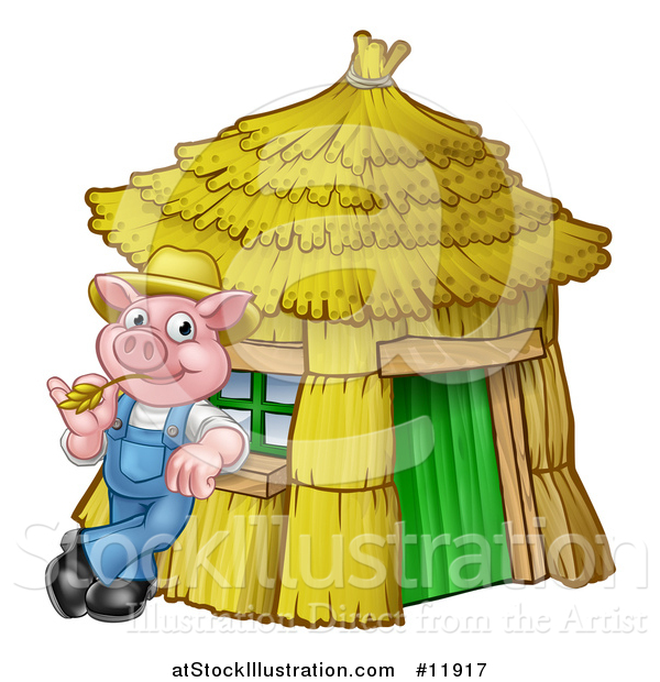 Vector Illustration of a Piggy from the Three Little Pigs Fairy Tale, Leaning Against His Straw House