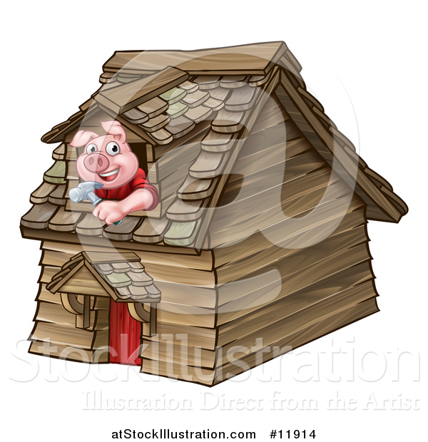 Vector Illustration of a Piggy from the Three Little Pigs Fairy Tale, Looking out the Window in His Wood House