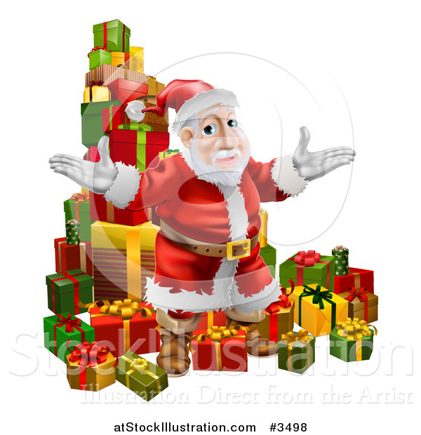 Vector Illustration of a Pile of Presents with Santa