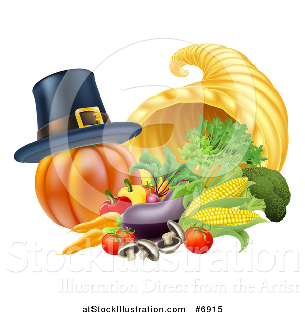 Vector Illustration of a Pilgrim Hat on a Pumpkin by a Thanksgiving Horn of Plenty Cornucopia and Vegetables