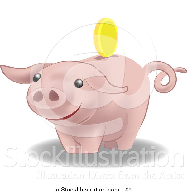 Vector Illustration of a Pink Pig Bank