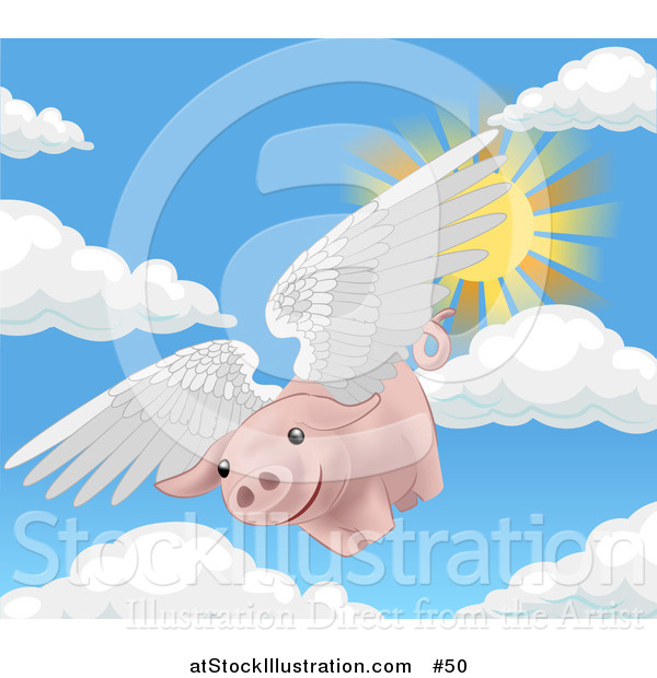 Vector Illustration of a Pink Pig Flying Through the Sky on a Sunny Day, when Pigs Fly
