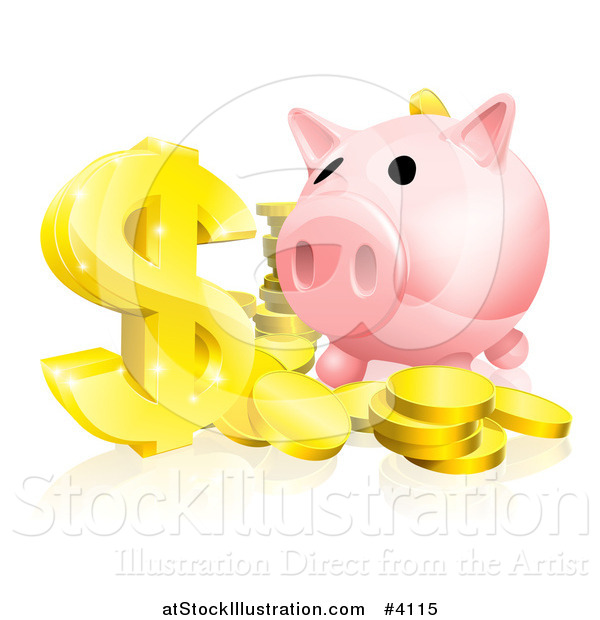 Vector Illustration of a Pink Piggy Bank and Abundance of Gold Coins and Dollar Symbol