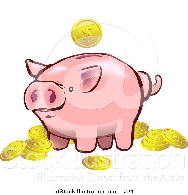Vector Illustration of a Pink Piggy Bank with Golden Coins