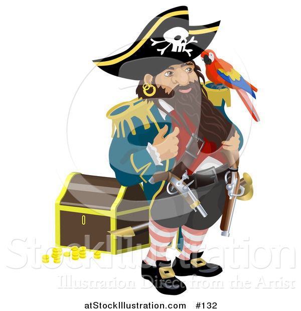 Vector Illustration of a Pirate Captain Standing by a Treasure Chest and Talking to the Bird on His Shoulder