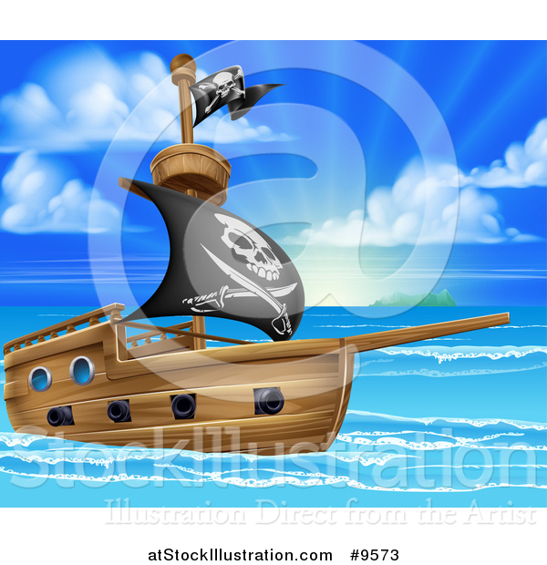 Vector Illustration of a Pirate Ship Flying the Jolly Roger Flag in a Beautiful Blue Sea at Sunrise
