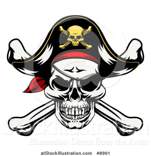 Vector Illustration of a Pirate Skull and Crossbones Wearing a Patch and Captain Hat