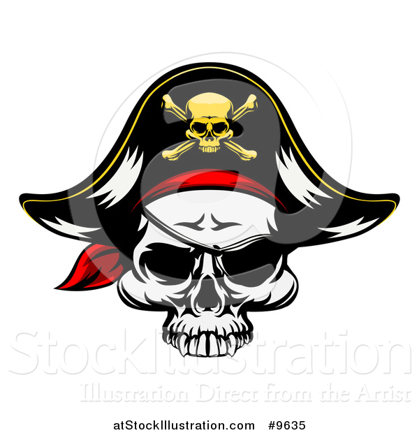 Vector Illustration of a Pirate Skull Wearing a Patch and Captain Hat