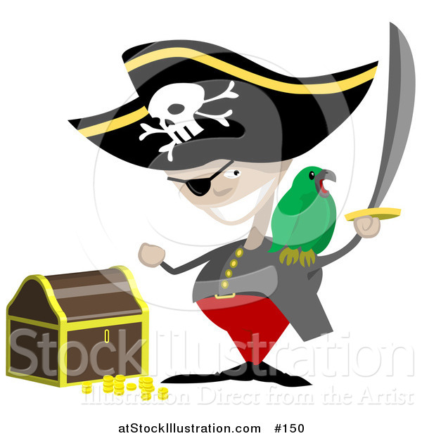 Vector Illustration of a Pirate with a Sword, Parrot and Treasure Chest