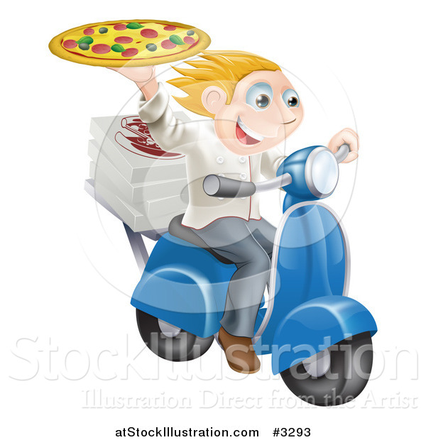Vector Illustration of a Pizza Delivery Chef Holding up a Pie on a Fast Scooter