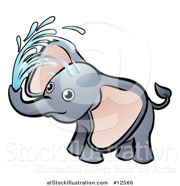 Vector Illustration of a Playful Baby Elephant Spraying Water