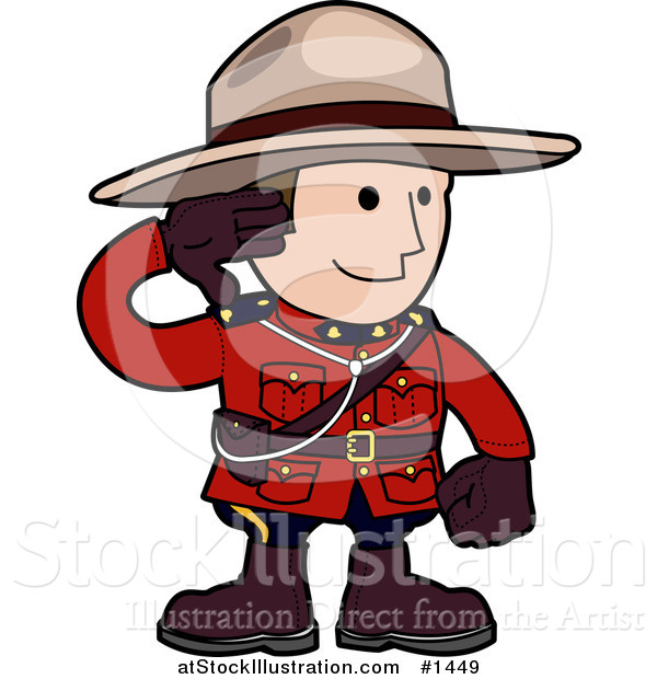 Vector Illustration of a Pleasant and Friendly Mounty in a Red Unicorm, Holding His Arm up and Smiling