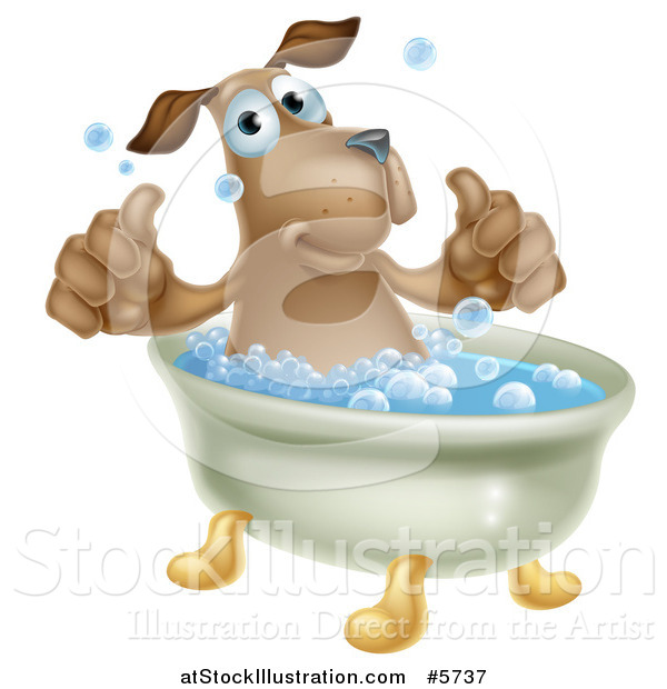 Vector Illustration of a Pleased Brown Dog Bathing and Holding Two Thumbs up