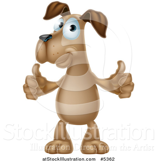 Vector Illustration of a Pleased Brown Dog Standing and Giving Two Thumbs up