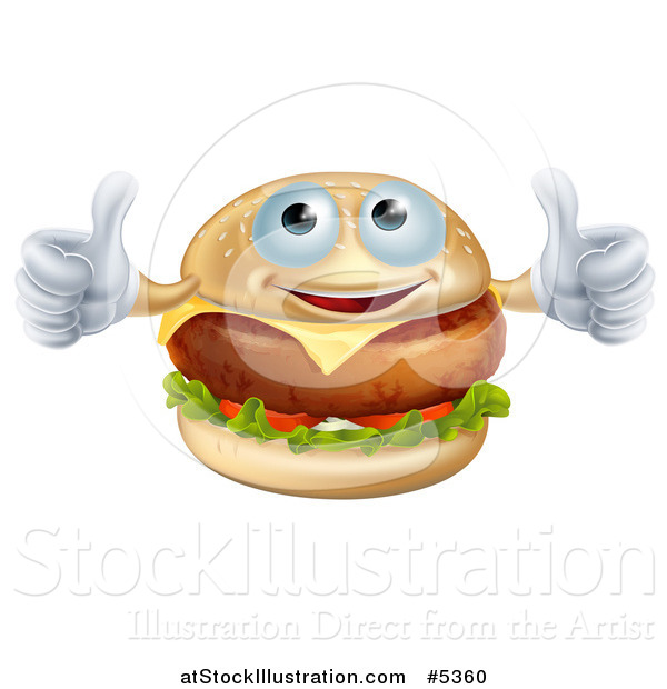 Vector Illustration of a Pleased Cheeseburger Holding Two Thumbs up