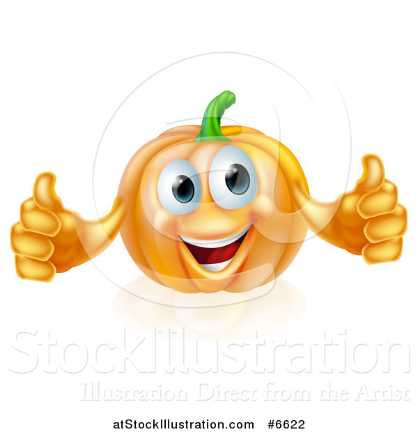 Vector Illustration of a Pleased Pumpkin Character Giving Two Thumbs up