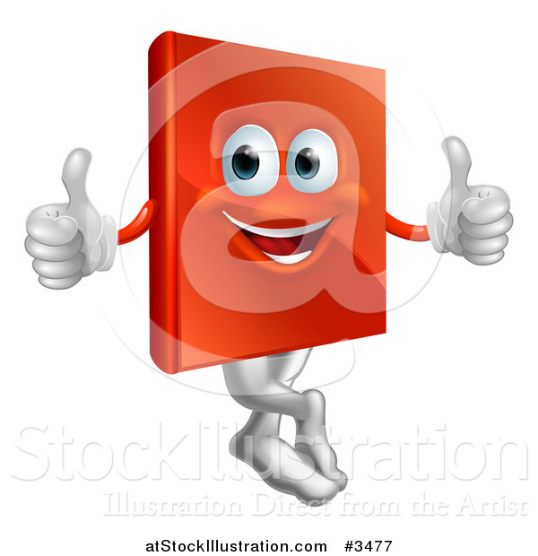 Vector Illustration of a Pleased Red Book Mascot Holding Two Thumbs up