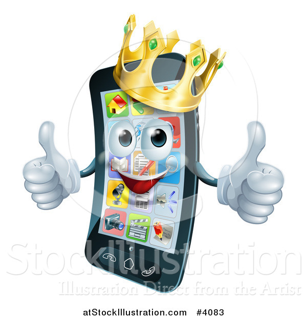 Vector Illustration of a Pleased Smart Phone Mascot Wearing a Crown and Holding Two Thumbs up