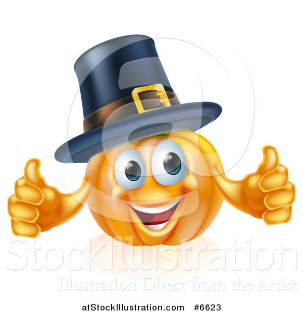 Vector Illustration of a Pleased Thanksgiving Pumpkin Character Wearing a Pilgrim Hat and Giving Two Thumbs up