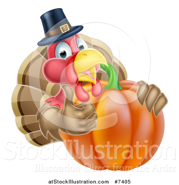 Vector Illustration of a Pleased Thanksgiving Turkey Bird Wearing a Pilgrim Hat and Giving a Thumb up over a Pumpkin 2