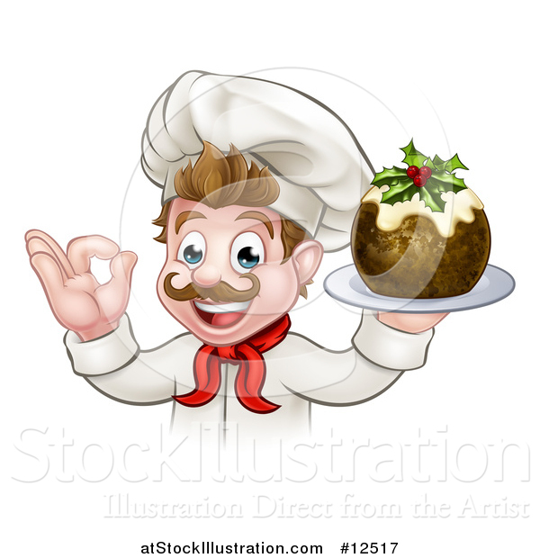 Vector Illustration of a Pleased White Male Chef Gesturing Okay While Presenting Christmas Pudding