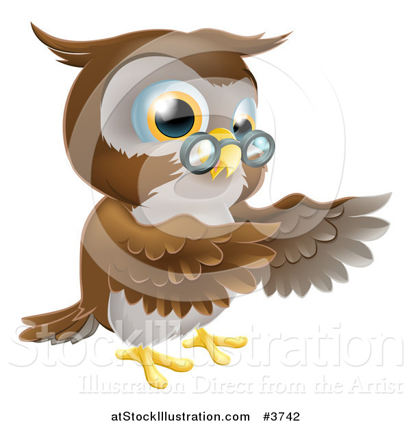 Vector Illustration of a Pointing Owl with Spectacles