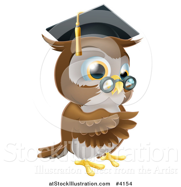 Vector Illustration of a Pointing Professor Owl with Glasses and Graduation Cap