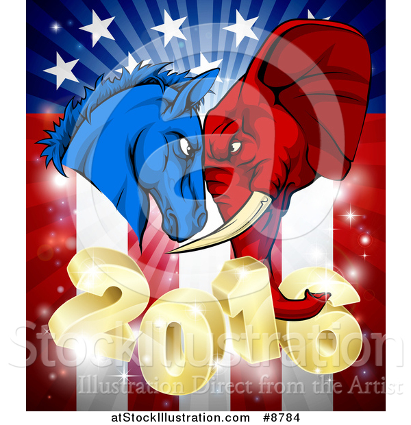 Vector Illustration of a Political Aggressive Democratic Donkey or Horse and Republican Elephant Butting Heads over a 2016 American Flag and Burst