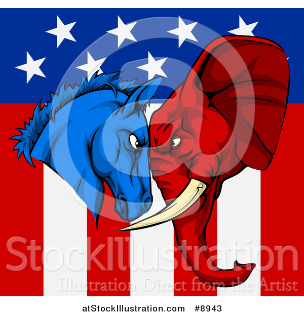 Vector Illustration of a Political Aggressive Democratic Donkey or Horse and Republican Elephant Butting Heads over an American Flag