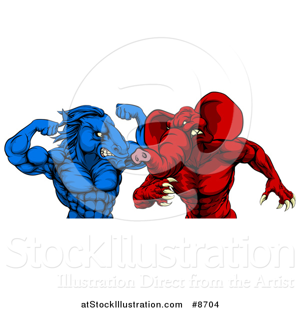 Vector Illustration of a Political Aggressive Democratic Donkey or Horse and Republican Elephant Fighting