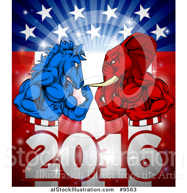 Vector Illustration of a Political Aggressive Democratic Donkey or Horse and Republican Elephant Flexing over a 2016 American Flag and Burst