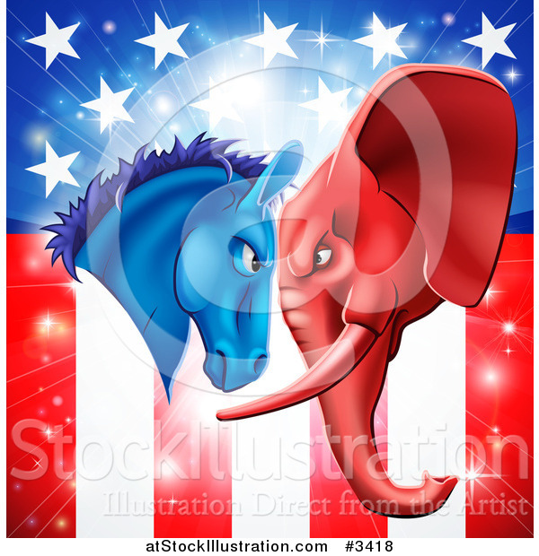 Vector Illustration of a Political Democratic Donkey and Republican Elephant Elephant Butting Heads over an American Flag