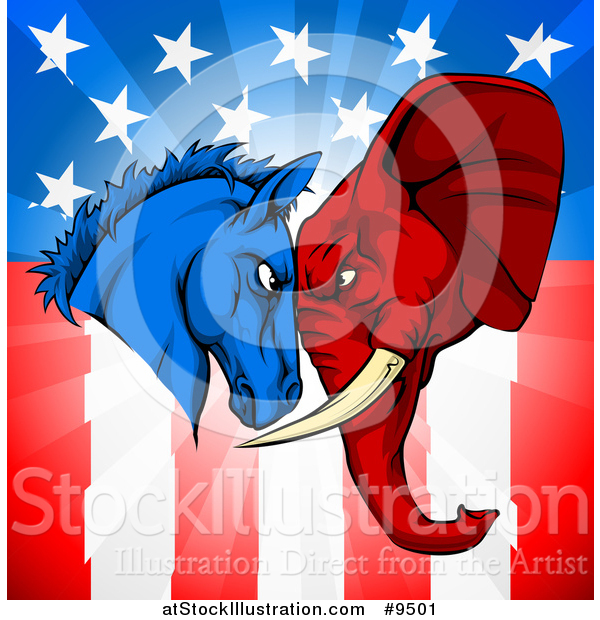 Vector Illustration of a Political Democratic Donkey and Republican Elephant Elephant Butting Heads over an American Themed Flag