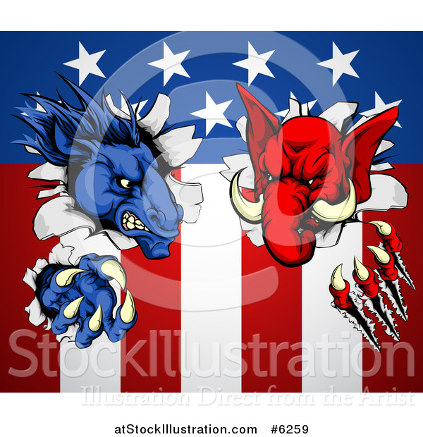 Vector Illustration of a Political Democratic Donkey and Republican Elephant Tearing Through an American Flag