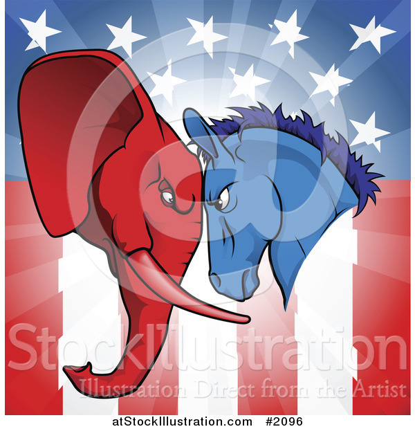 Vector Illustration of a Political Donkey and Elephant Facing off over an American Flag