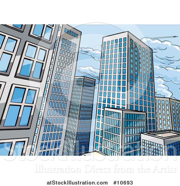 Vector Illustration of a Pop Art Comic Book Styled Scene of City Skyscraper Buildings