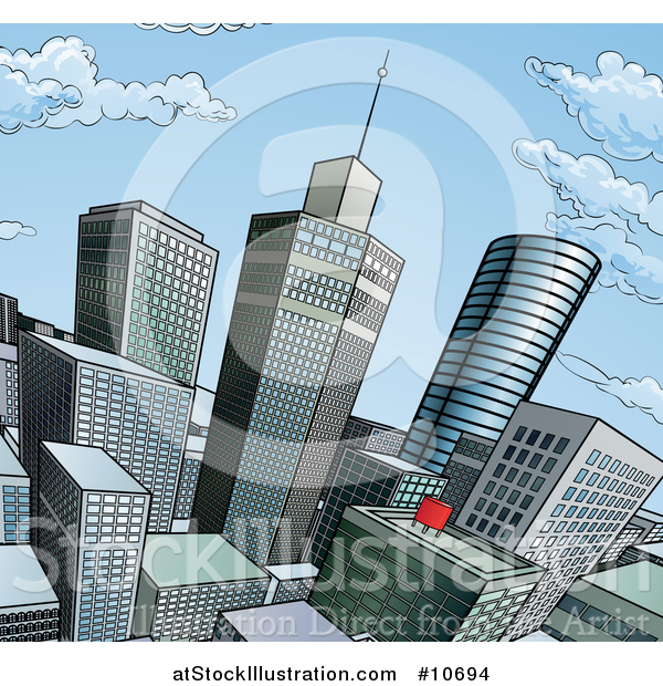 Vector Illustration of a Pop Art Comic Book Styled Scene of City Skyscrapers