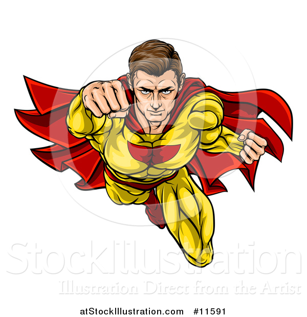 Vector Illustration of a Pop Art Comic Caucaslan Male Super Hero Flying Forward